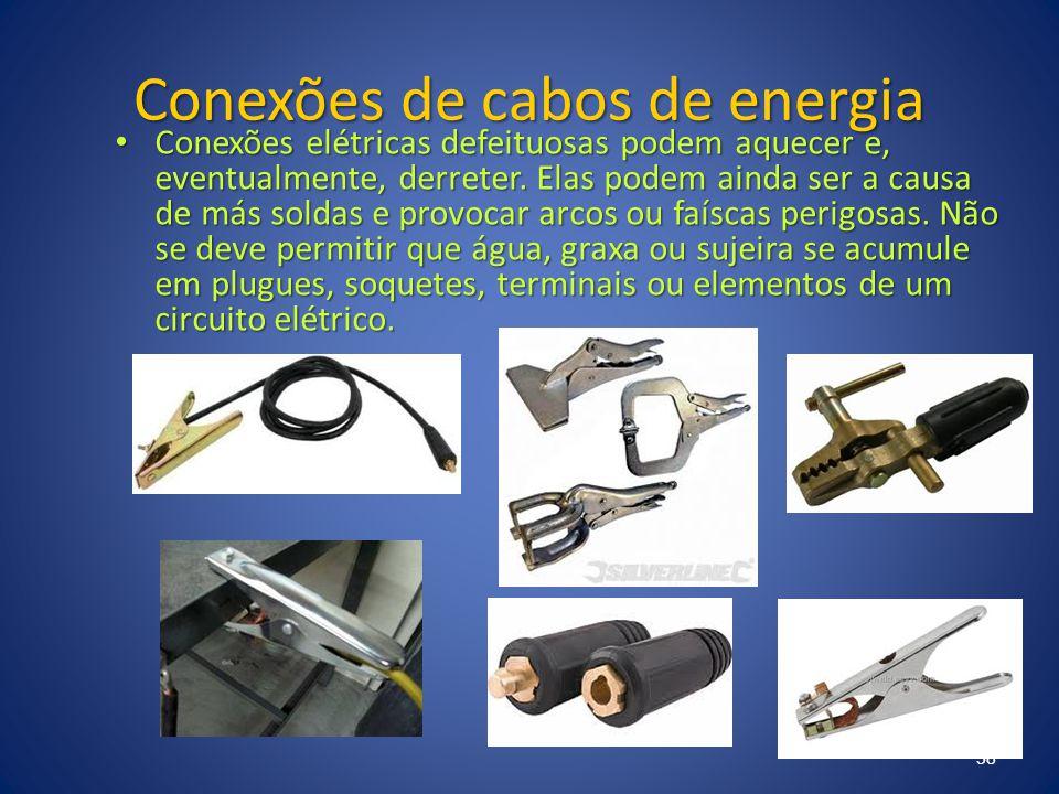 Conexões de cabos de energia Conexões elétricas defeituosas podem aquecer e, eventualmente, derreter. Elas podem ainda ser a causa de más soldas e pro