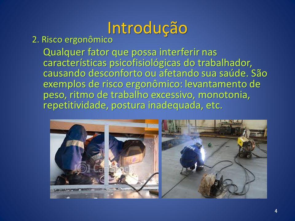Introdução 2. Risco ergonômico Qualquer fator que possa interferir nas características psicofisiológicas do trabalhador, causando desconforto ou afeta