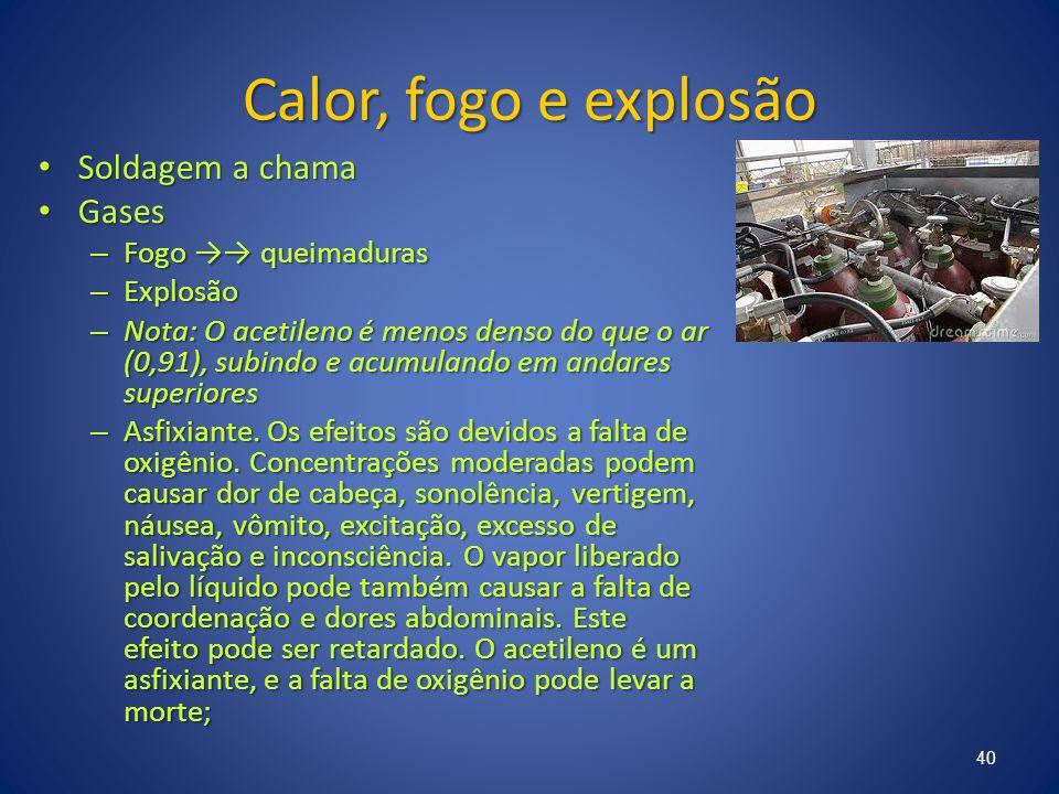 Calor, fogo e explosão Soldagem a chama Soldagem a chama Gases Gases – Fogo →→ queimaduras – Explosão – Nota: O acetileno é menos denso do que o ar (0