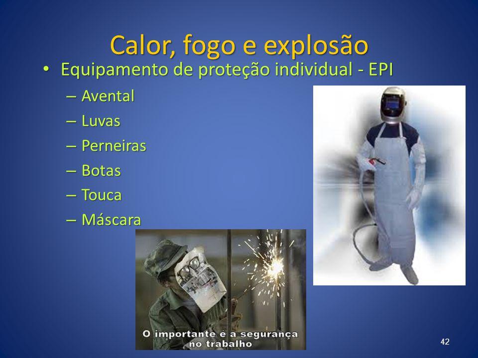 Calor, fogo e explosão Equipamento de proteção individual - EPI Equipamento de proteção individual - EPI – Avental – Luvas – Perneiras – Botas – Touca