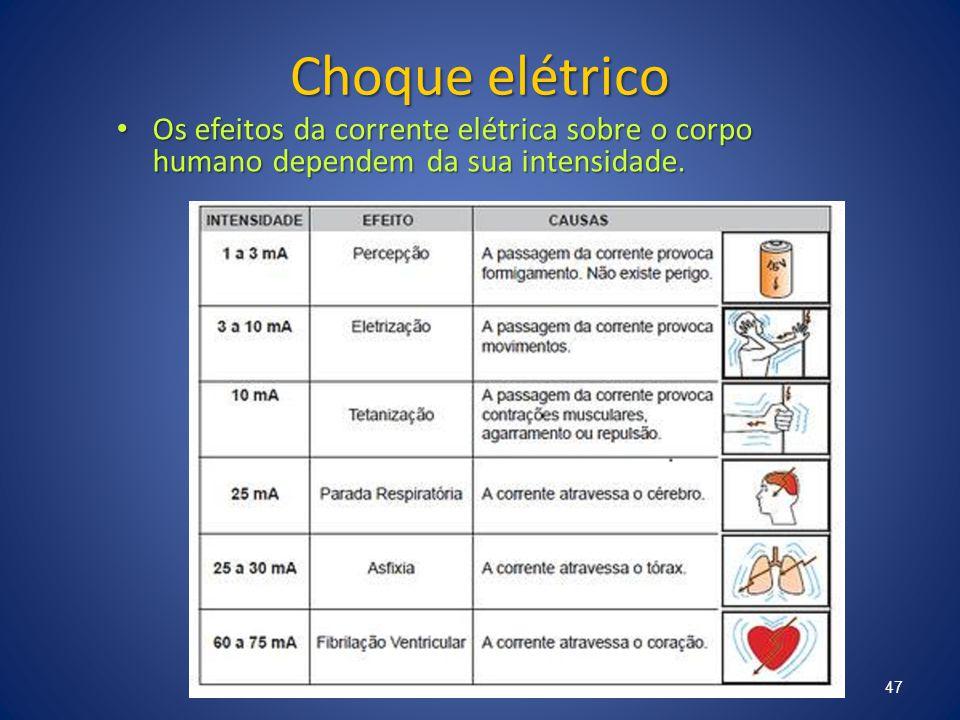 Choque elétrico Os efeitos da corrente elétrica sobre o corpo humano dependem da sua intensidade. Os efeitos da corrente elétrica sobre o corpo humano