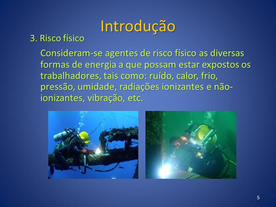 Introdução 3. Risco físico Consideram-se agentes de risco físico as diversas formas de energia a que possam estar expostos os trabalhadores, tais como