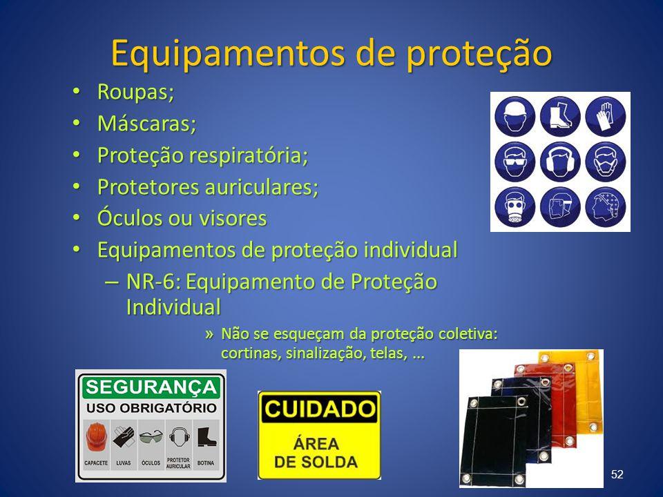 Equipamentos de proteção Roupas; Roupas; Máscaras; Máscaras; Proteção respiratória; Proteção respiratória; Protetores auriculares; Protetores auricula