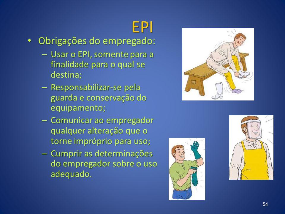 EPI Obrigações do empregado: Obrigações do empregado: – Usar o EPI, somente para a finalidade para o qual se destina; – Responsabilizar-se pela guarda