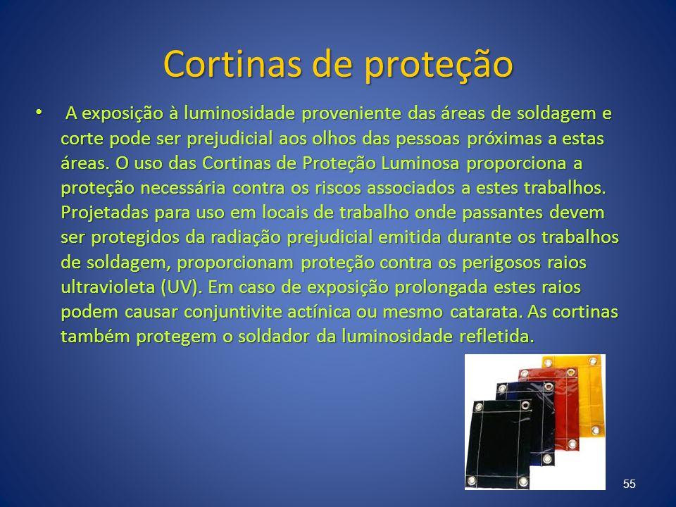 Cortinas de proteção A exposição à luminosidade proveniente das áreas de soldagem e corte pode ser prejudicial aos olhos das pessoas próximas a estas