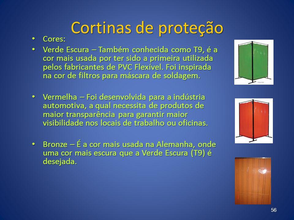Cortinas de proteção Cores: Cores: Verde Escura – Também conhecida como T9, é a cor mais usada por ter sido a primeira utilizada pelos fabricantes de