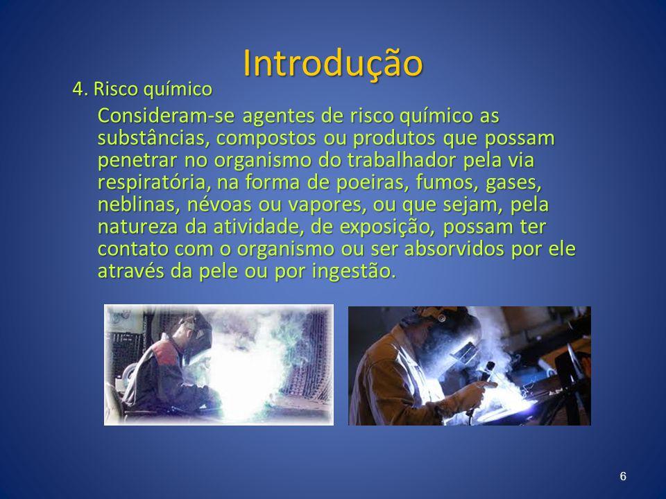 Introdução 4. Risco químico Consideram-se agentes de risco químico as substâncias, compostos ou produtos que possam penetrar no organismo do trabalhad