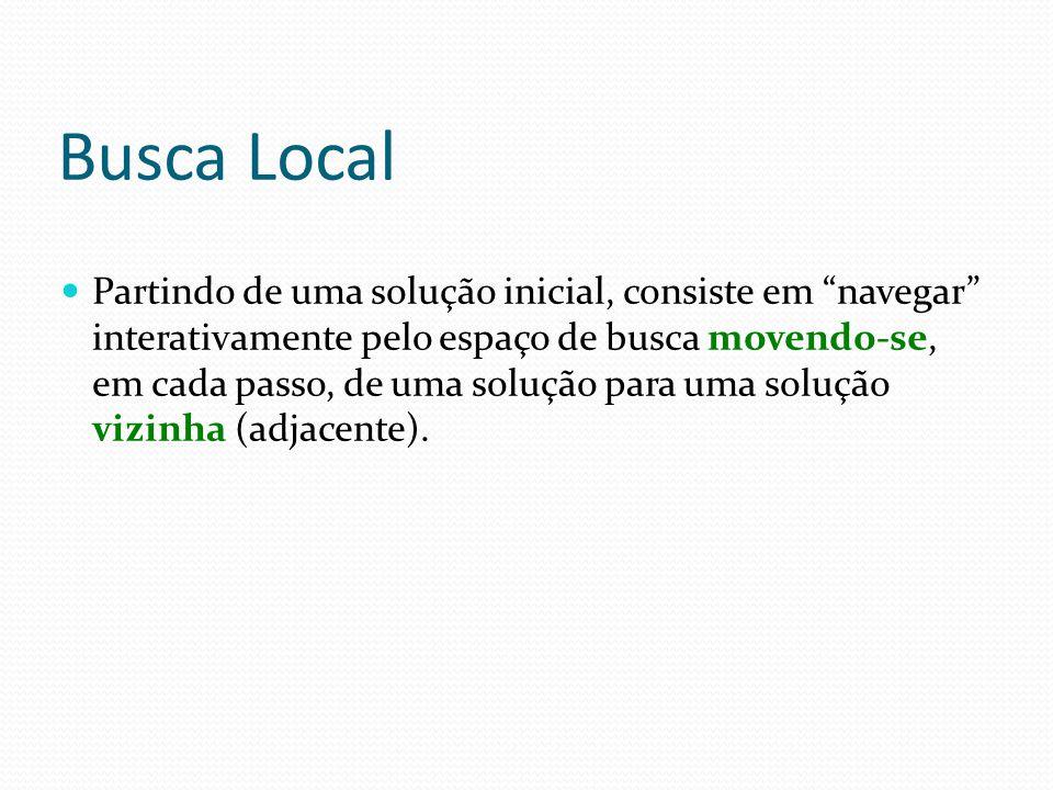 """Busca Local Partindo de uma solução inicial, consiste em """"navegar"""" interativamente pelo espaço de busca movendo-se, em cada passo, de uma solução para"""