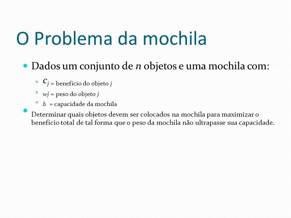 O Problema da mochila Dados um conjunto de n objetos e uma mochila com:  c j = benefício do objeto j  wj = peso do objeto j  b = capacidade da moch