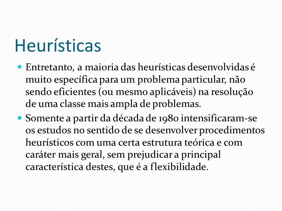 Heurísticas Entretanto, a maioria das heurísticas desenvolvidas é muito específica para um problema particular, não sendo eficientes (ou mesmo aplicáv