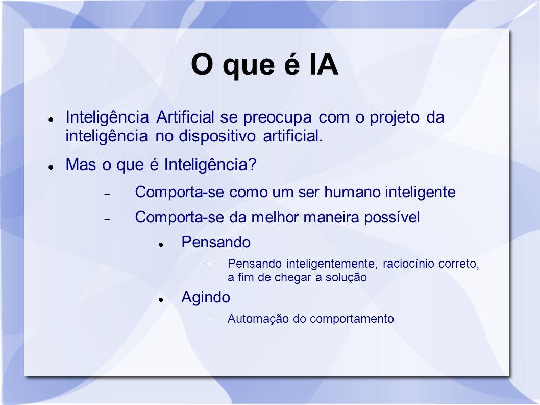 O que é IA Inteligência Artificial se preocupa com o projeto da inteligência no dispositivo artificial. Mas o que é Inteligência?  Comporta-se como u