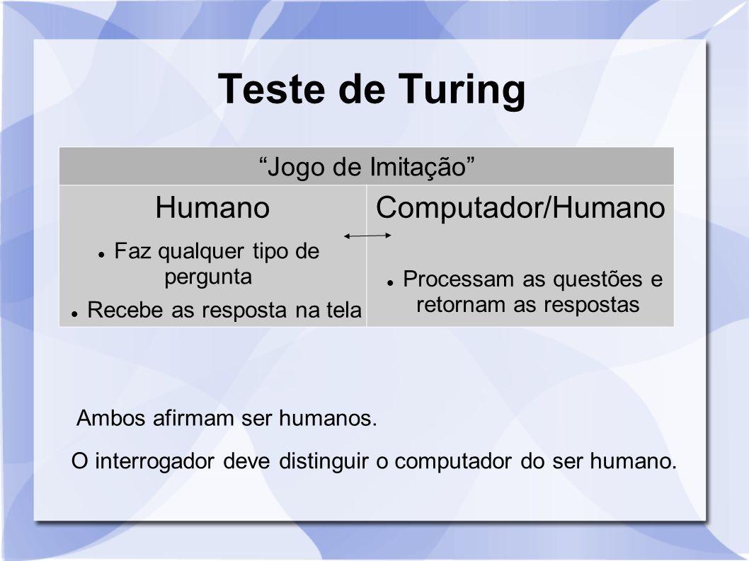 """Teste de Turing """"Jogo de Imitação"""" HumanoComputador/Humano Ambos afirmam ser humanos. O interrogador deve distinguir o computador do ser humano. Faz q"""