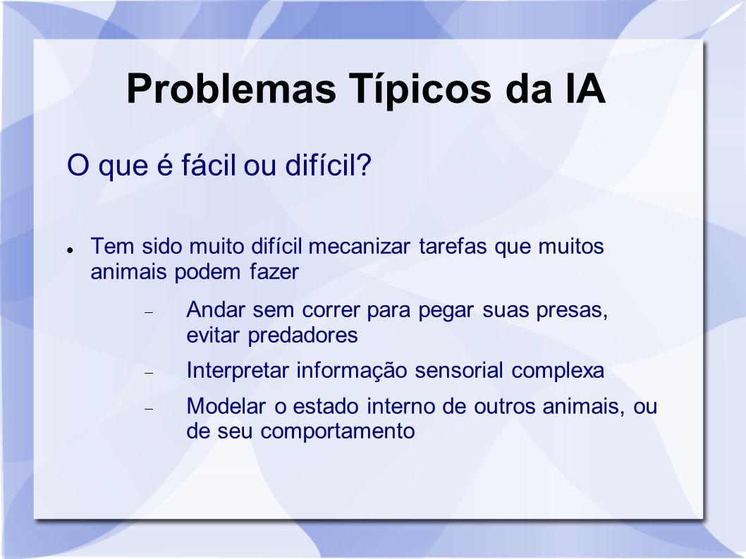Problemas Típicos da IA O que é fácil ou difícil? Tem sido muito difícil mecanizar tarefas que muitos animais podem fazer  Andar sem correr para pega