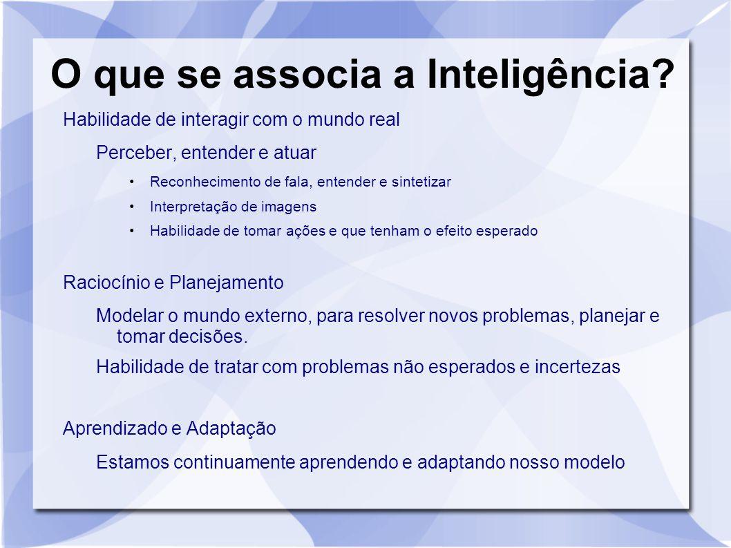O que se associa a Inteligência? Habilidade de interagir com o mundo real Perceber, entender e atuar Reconhecimento de fala, entender e sintetizar Int