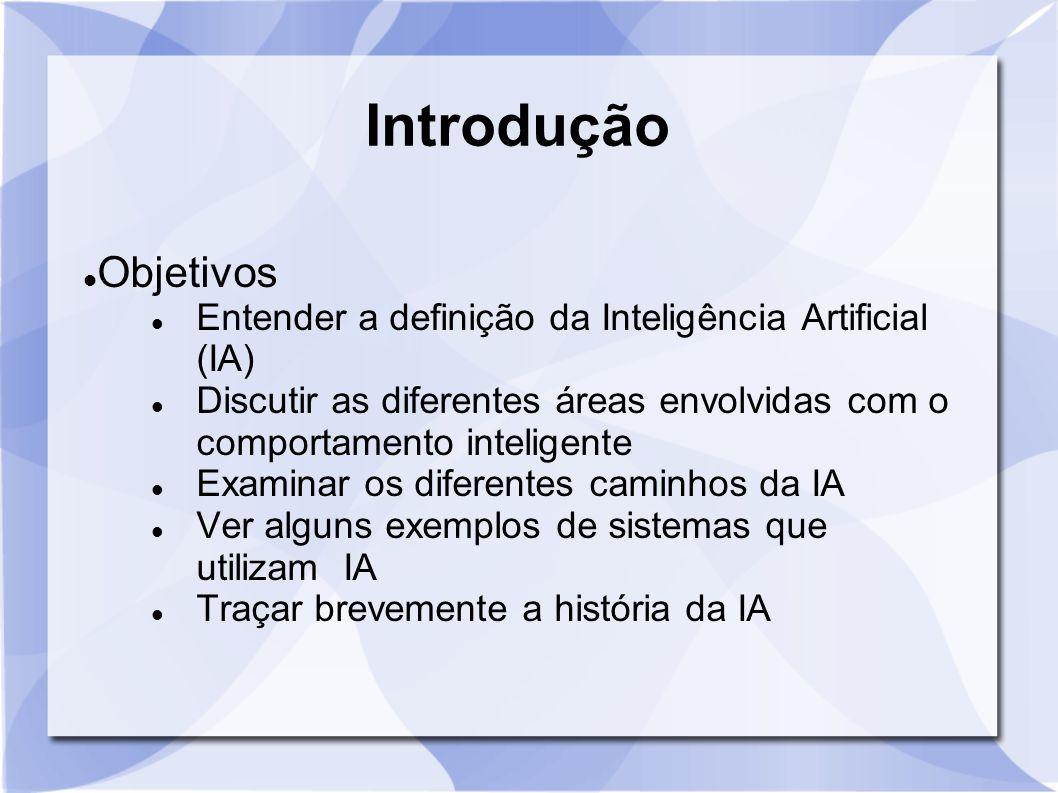 Introdução Objetivos Entender a definição da Inteligência Artificial (IA) Discutir as diferentes áreas envolvidas com o comportamento inteligente Exam