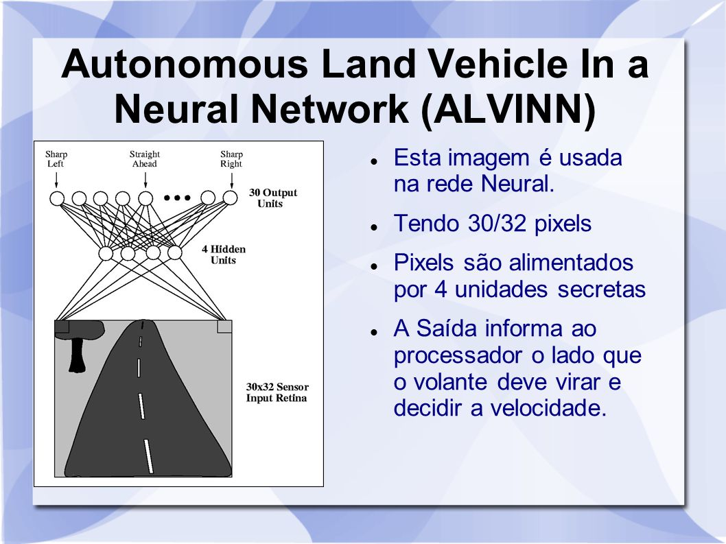 Autonomous Land Vehicle In a Neural Network (ALVINN) Esta imagem é usada na rede Neural. Tendo 30/32 pixels Pixels são alimentados por 4 unidades secr