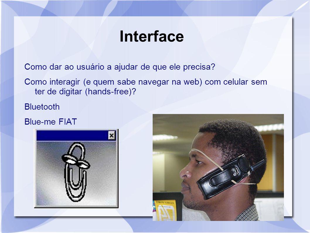 Interface Como dar ao usuário a ajudar de que ele precisa? Como interagir (e quem sabe navegar na web) com celular sem ter de digitar (hands-free)? Bl