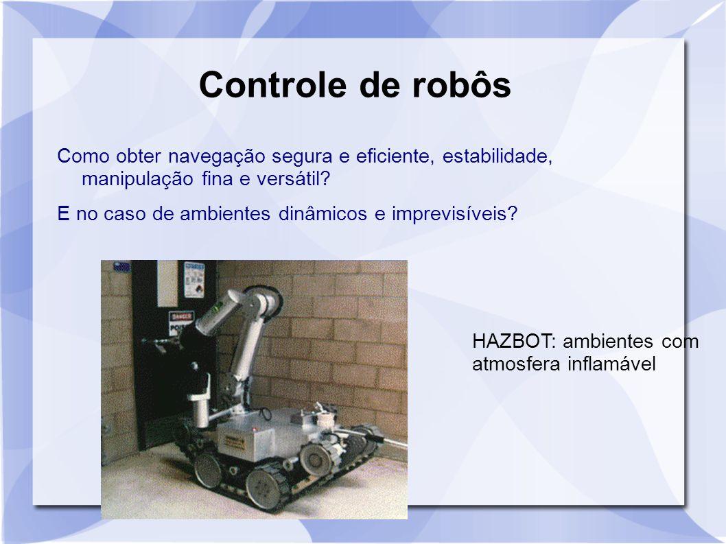 HAZBOT: ambientes com atmosfera inflamável Controle de robôs Como obter navegação segura e eficiente, estabilidade, manipulação fina e versátil? E no