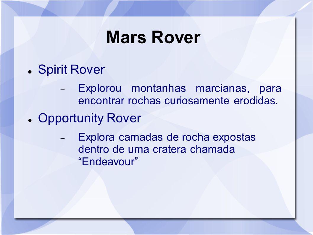 Mars Rover Spirit Rover  Explorou montanhas marcianas, para encontrar rochas curiosamente erodidas. Opportunity Rover  Explora camadas de rocha expo