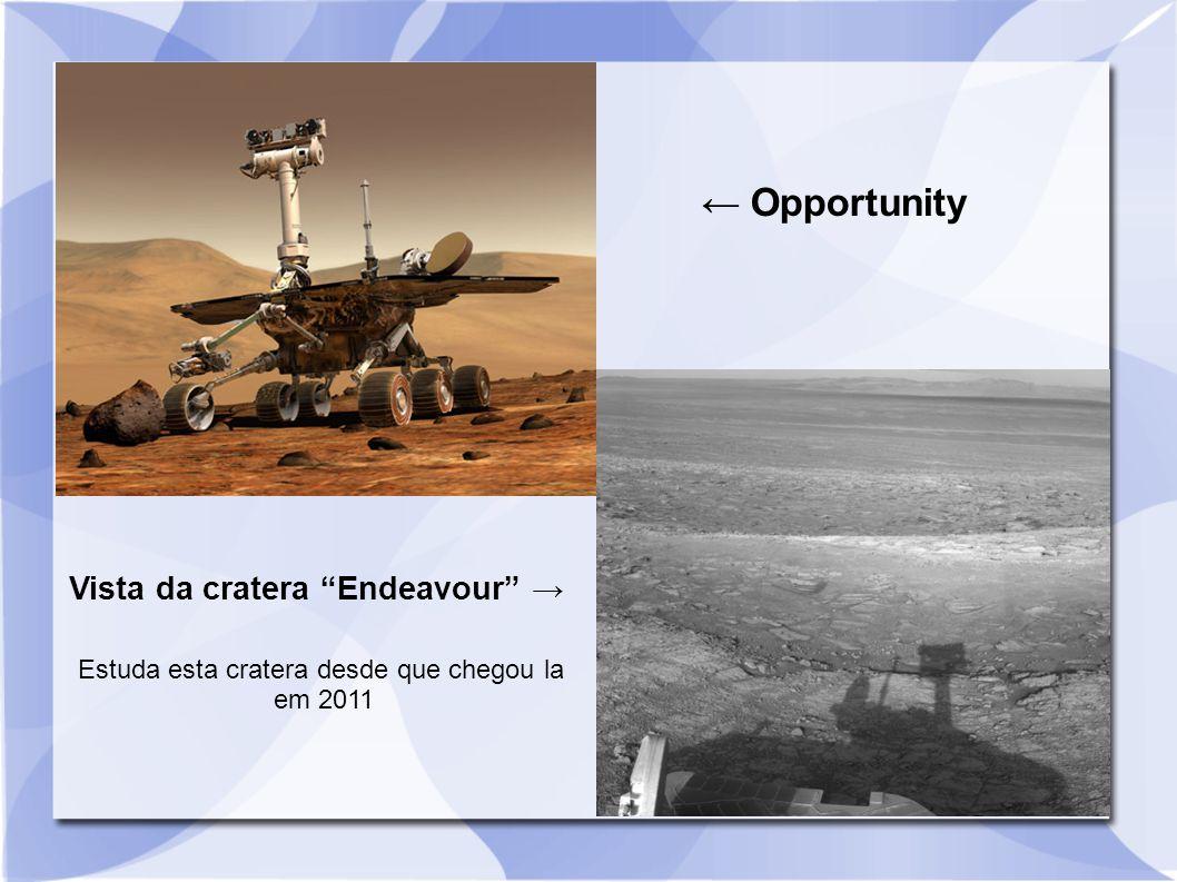 "← Opportunity Vista da cratera ""Endeavour"" → Estuda esta cratera desde que chegou la em 2011"