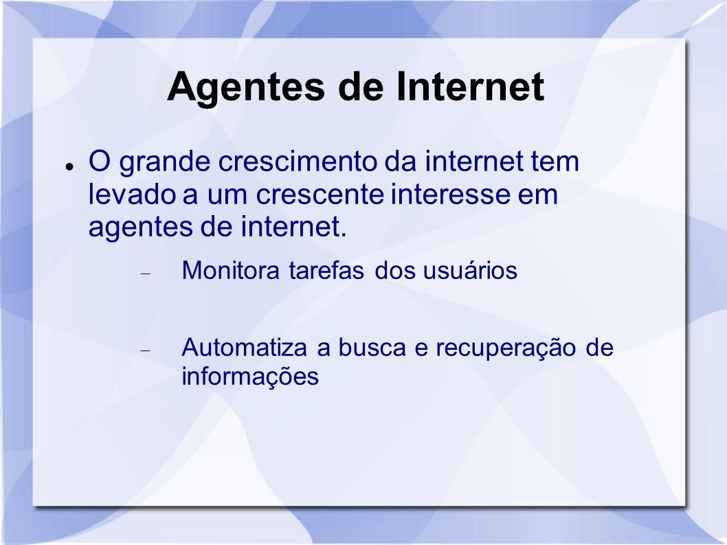 Agentes de Internet O grande crescimento da internet tem levado a um crescente interesse em agentes de internet.  Monitora tarefas dos usuários  Aut