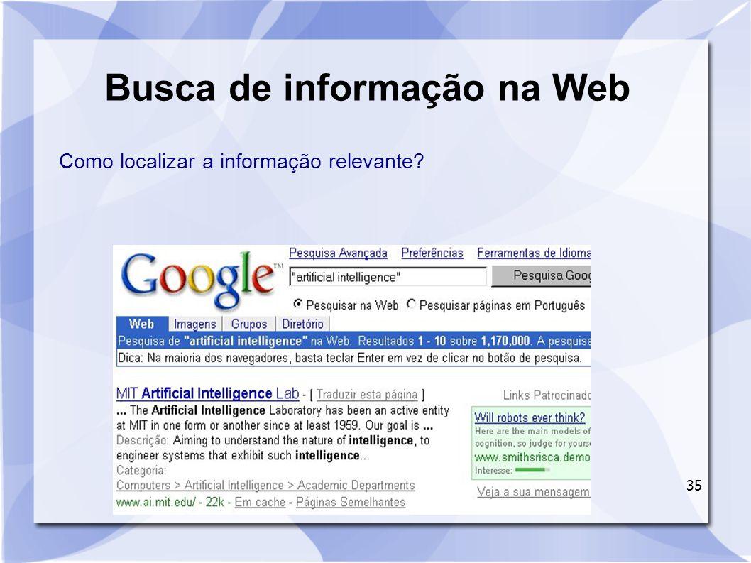 35 Busca de informação na Web Como localizar a informação relevante?