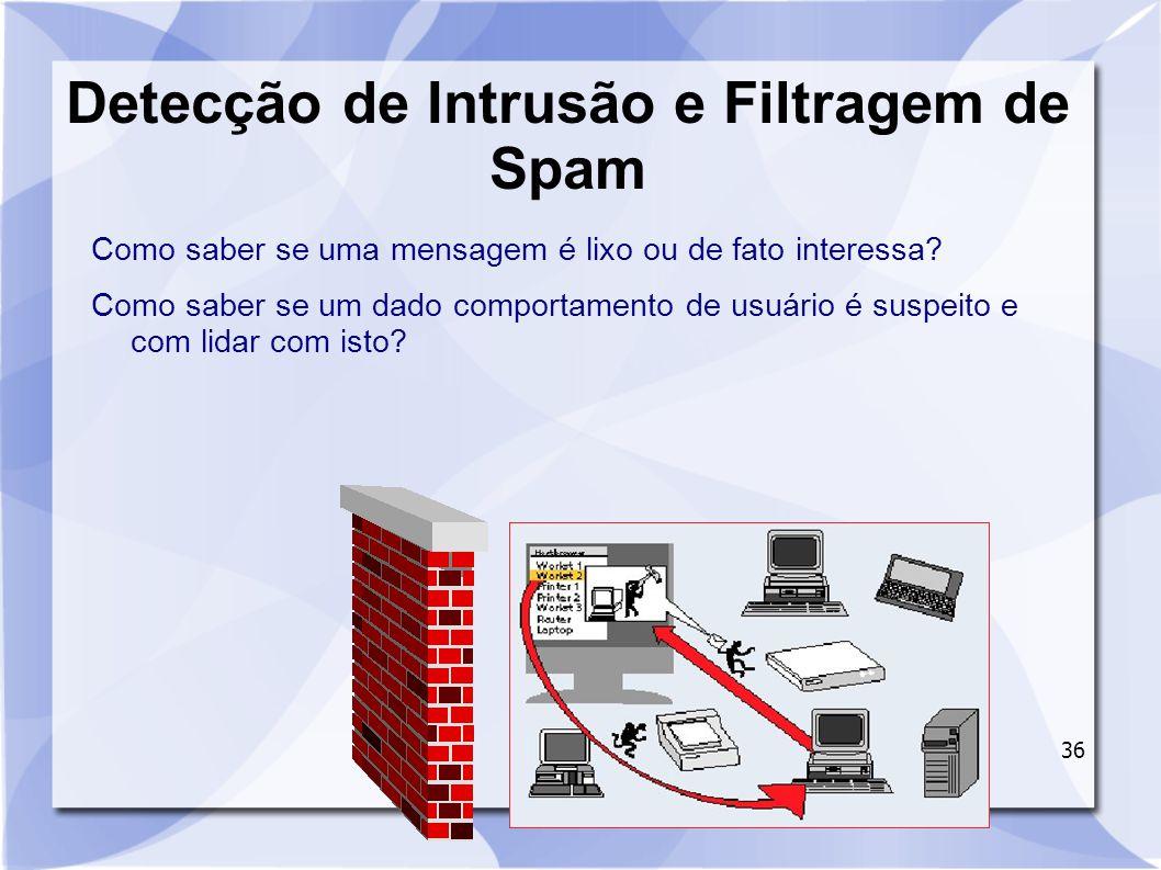 36 Detecção de Intrusão e Filtragem de Spam Como saber se uma mensagem é lixo ou de fato interessa? Como saber se um dado comportamento de usuário é s