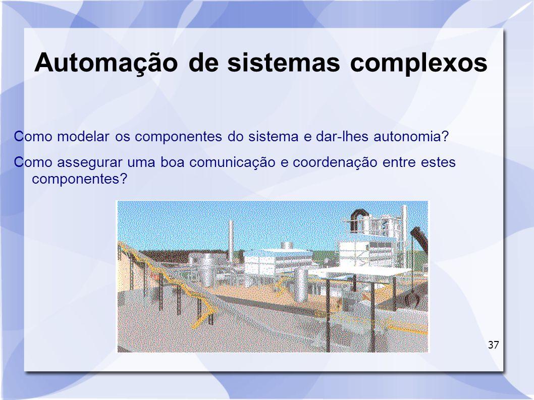 37 Automação de sistemas complexos Como modelar os componentes do sistema e dar-lhes autonomia? Como assegurar uma boa comunicação e coordenação entre
