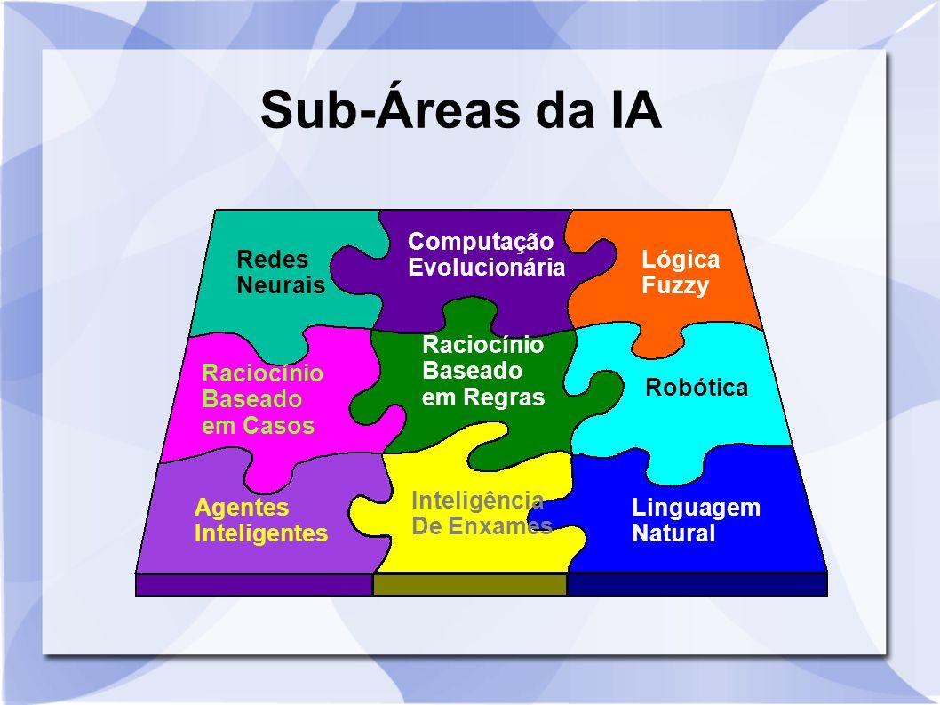 Sub-Áreas da IA Redes Neurais Lógica Fuzzy Computação Evolucionária Agentes Inteligentes Linguagem Natural Robótica Raciocínio Baseado em Casos Racioc