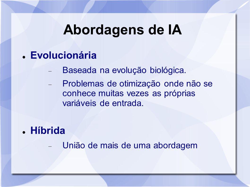 Abordagens de IA Evolucionária  Baseada na evolução biológica.  Problemas de otimização onde não se conhece muitas vezes as próprias variáveis de en