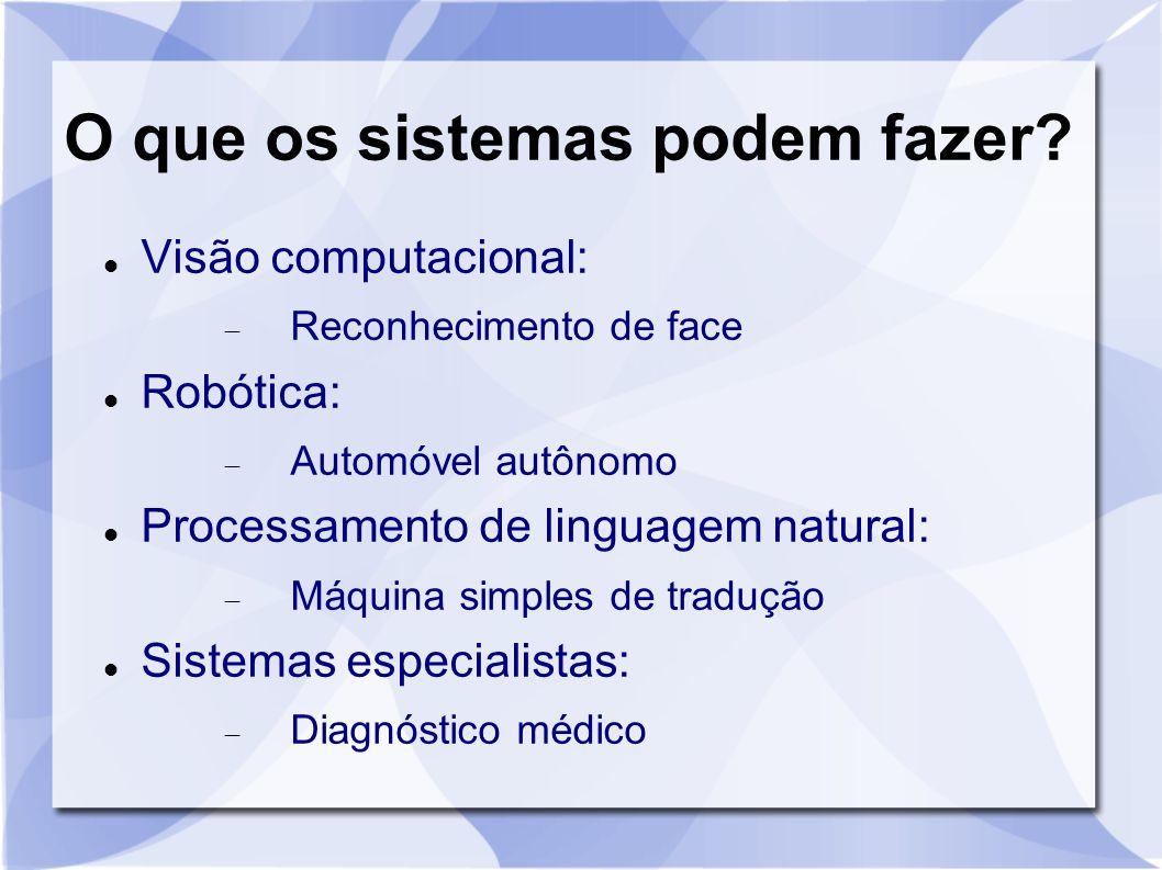 O que os sistemas podem fazer? Visão computacional:  Reconhecimento de face Robótica:  Automóvel autônomo Processamento de linguagem natural:  Máqu