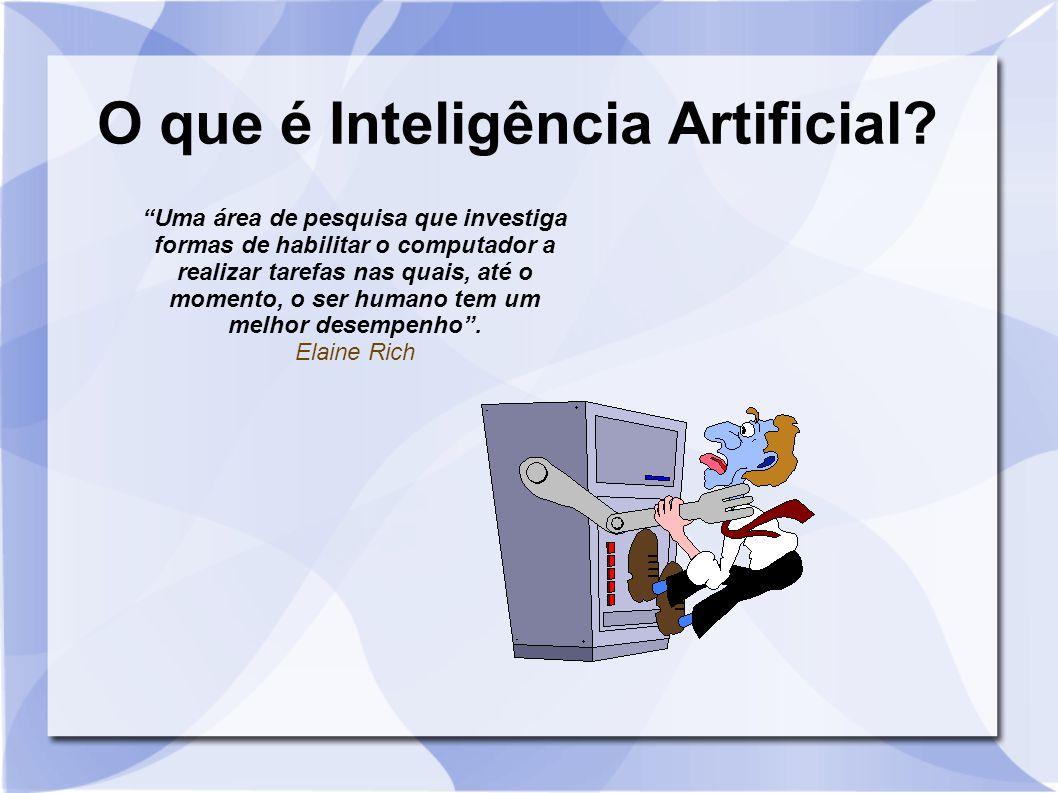 """O que é Inteligência Artificial? """"Uma área de pesquisa que investiga formas de habilitar o computador a realizar tarefas nas quais, até o momento, o s"""