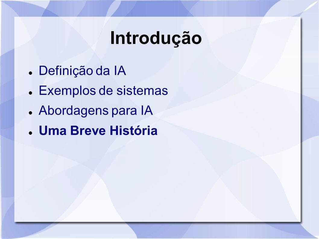 Introdução Definição da IA Exemplos de sistemas Abordagens para IA Uma Breve História