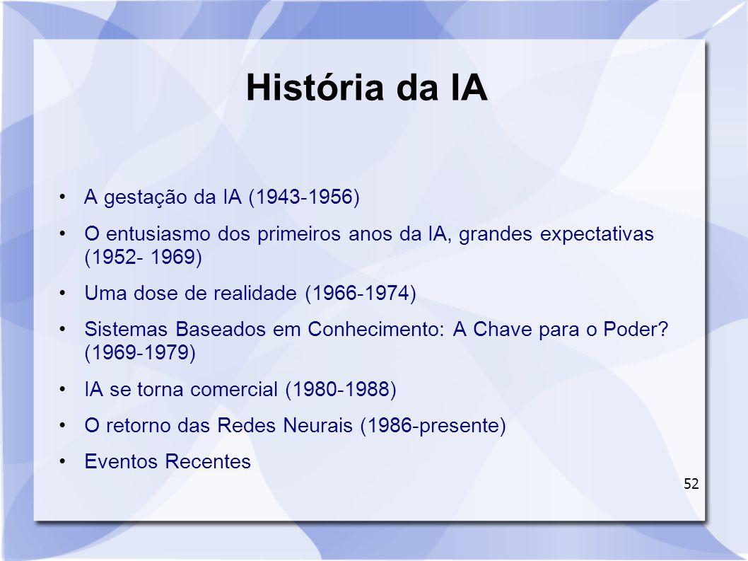 52 História da IA A gestação da IA (1943-1956) O entusiasmo dos primeiros anos da IA, grandes expectativas (1952- 1969) Uma dose de realidade (1966-19