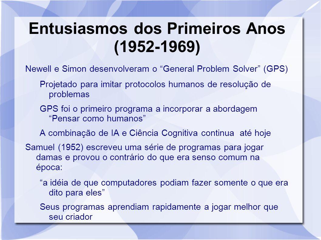 """Entusiasmos dos Primeiros Anos (1952-1969) Newell e Simon desenvolveram o """"General Problem Solver"""" (GPS) Projetado para imitar protocolos humanos de r"""