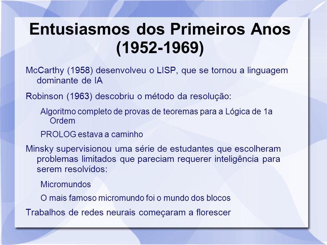 Entusiasmos dos Primeiros Anos (1952-1969) McCarthy (1958) desenvolveu o LISP, que se tornou a linguagem dominante de IA Robinson (1963) descobriu o m