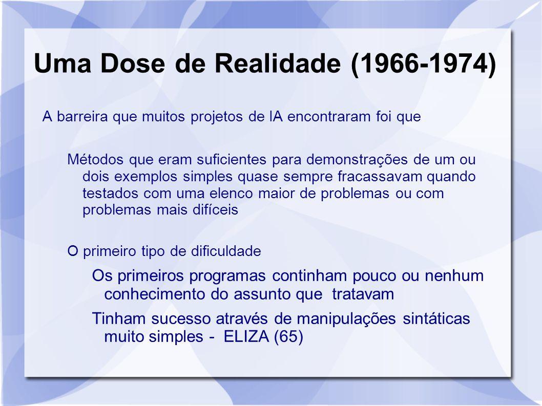 Uma Dose de Realidade (1966-1974) A barreira que muitos projetos de IA encontraram foi que Métodos que eram suficientes para demonstrações de um ou do