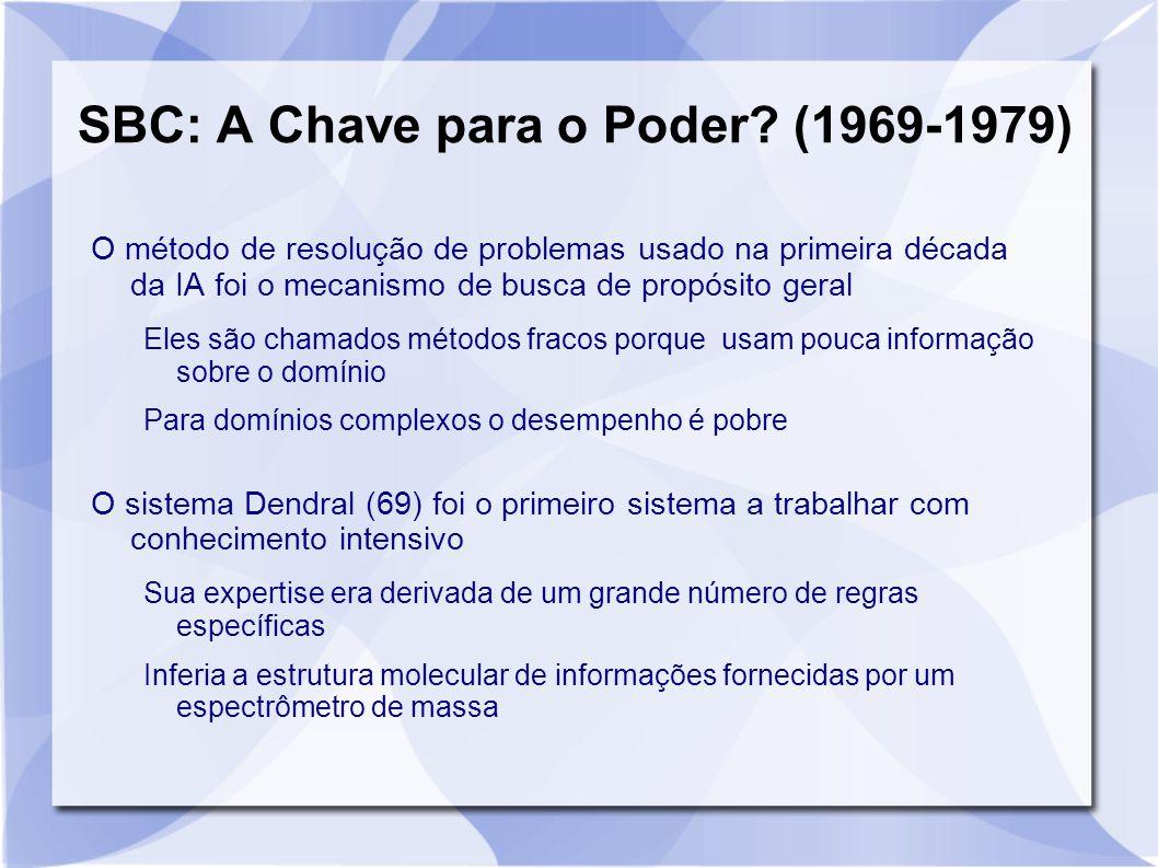 SBC: A Chave para o Poder? (1969-1979) O método de resolução de problemas usado na primeira década da IA foi o mecanismo de busca de propósito geral E
