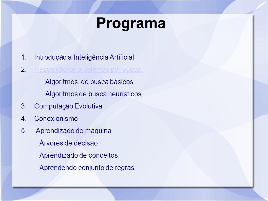 Programa 1. Introdução a Inteligência Artificial 2. Resolução de problemas por busca.Resolução de problemas por busca. · Algoritmos de busca básicos ·