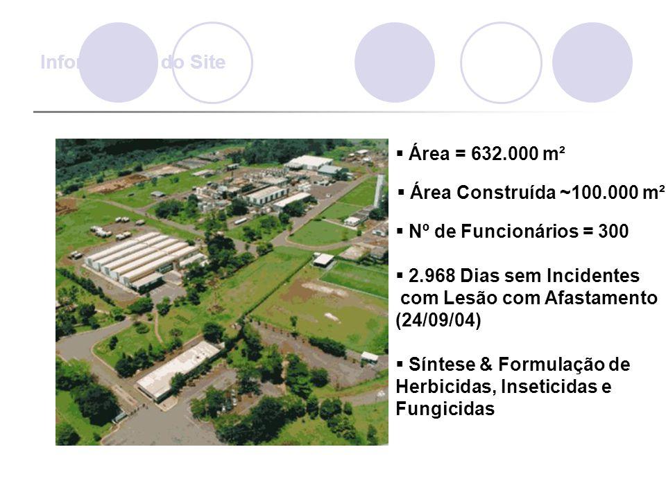  Área = 632.000 m²  Área Construída ~100.000 m²  Nº de Funcionários = 300  2.968 Dias sem Incidentes com Lesão com Afastamento (24/09/04)  Síntes