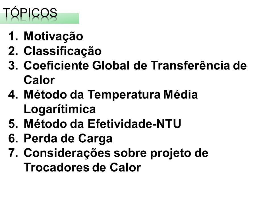 1.Motivação 2.Classificação 3.Coeficiente Global de Transferência de Calor 4.Método da Temperatura Média Logarítimica 5.Método da Efetividade-NTU 6.Pe