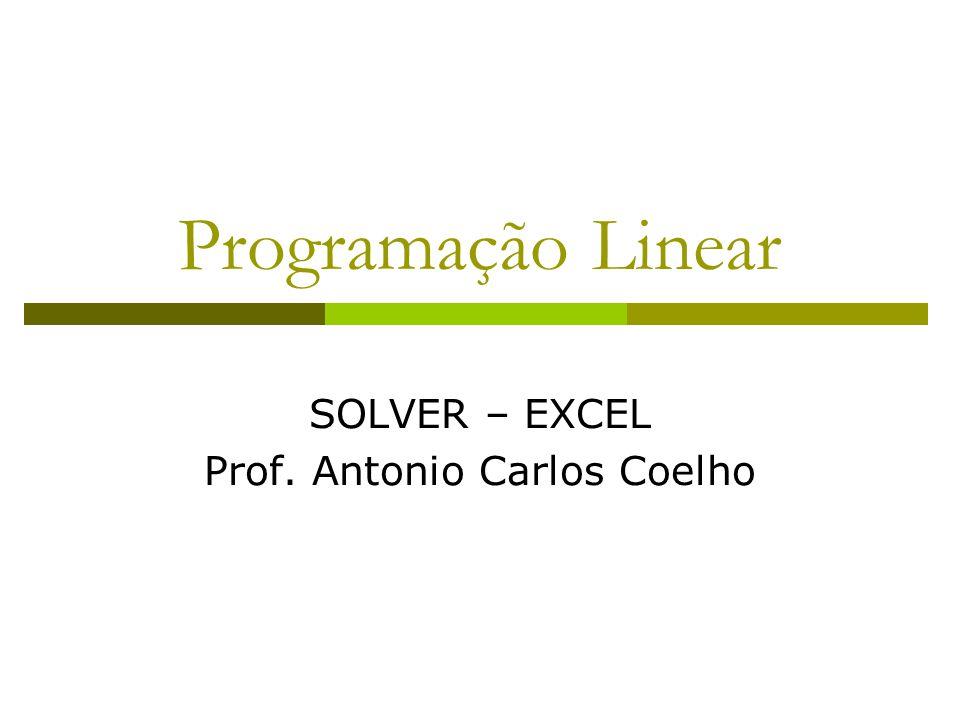 Programação Linear SOLVER – EXCEL Prof. Antonio Carlos Coelho