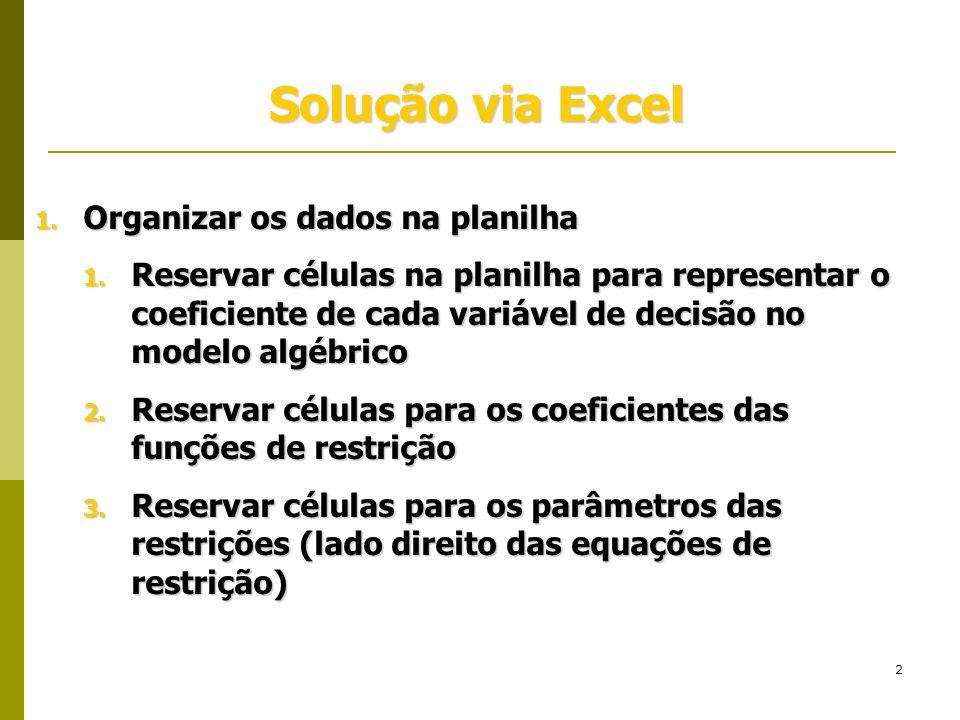 2 Solução via Excel 1. Organizar os dados na planilha 1. Reservar células na planilha para representar o coeficiente de cada variável de decisão no mo