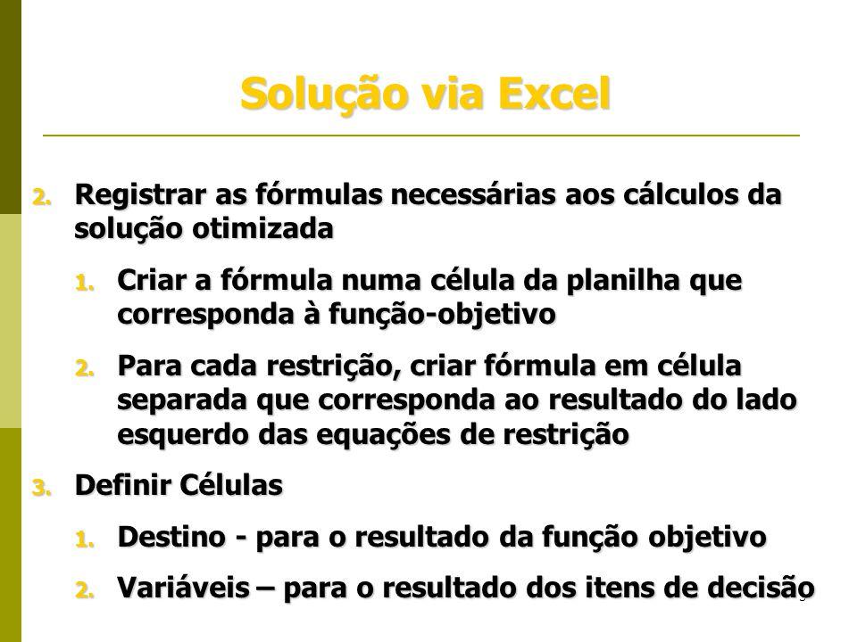3 Solução via Excel 2. Registrar as fórmulas necessárias aos cálculos da solução otimizada 1. Criar a fórmula numa célula da planilha que corresponda
