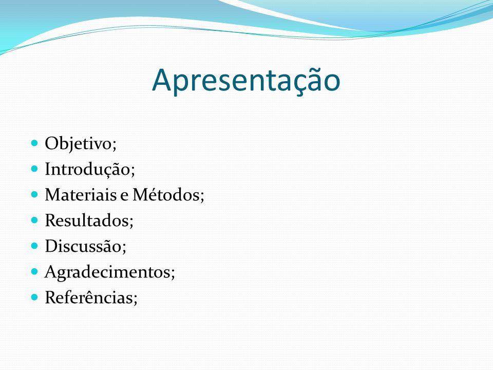 Apresentação Objetivo; Introdução; Materiais e Métodos; Resultados; Discussão; Agradecimentos; Referências;