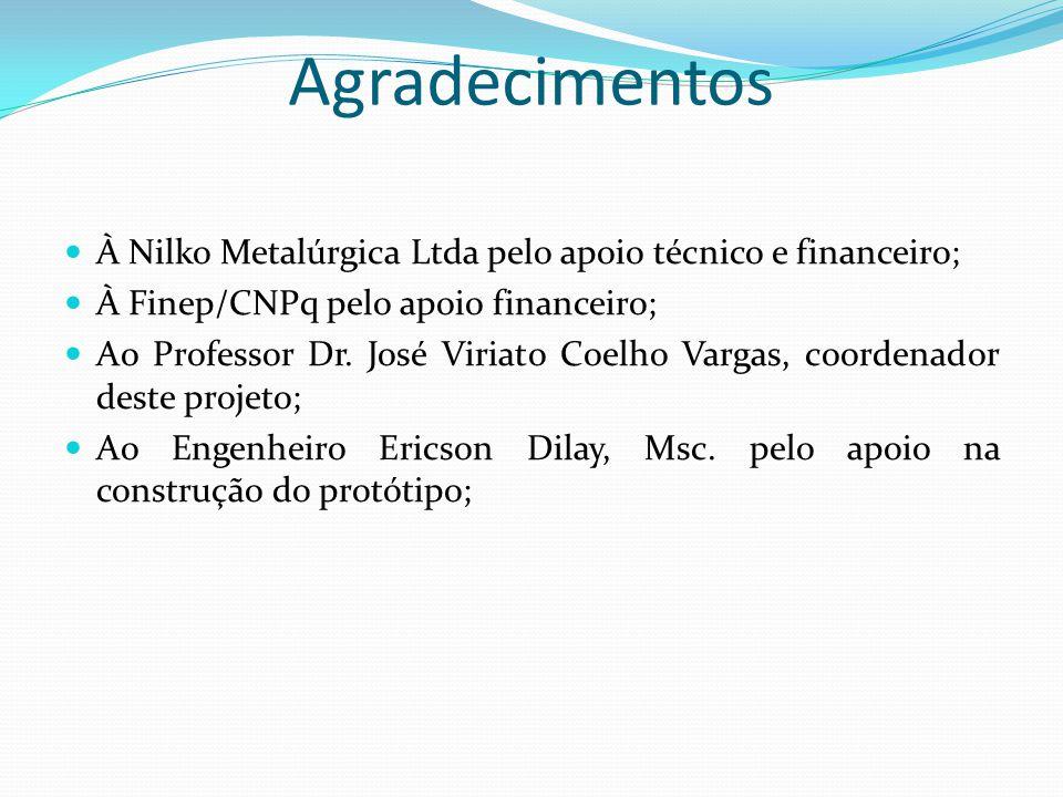 Agradecimentos À Nilko Metalúrgica Ltda pelo apoio técnico e financeiro; À Finep/CNPq pelo apoio financeiro; Ao Professor Dr. José Viriato Coelho Varg