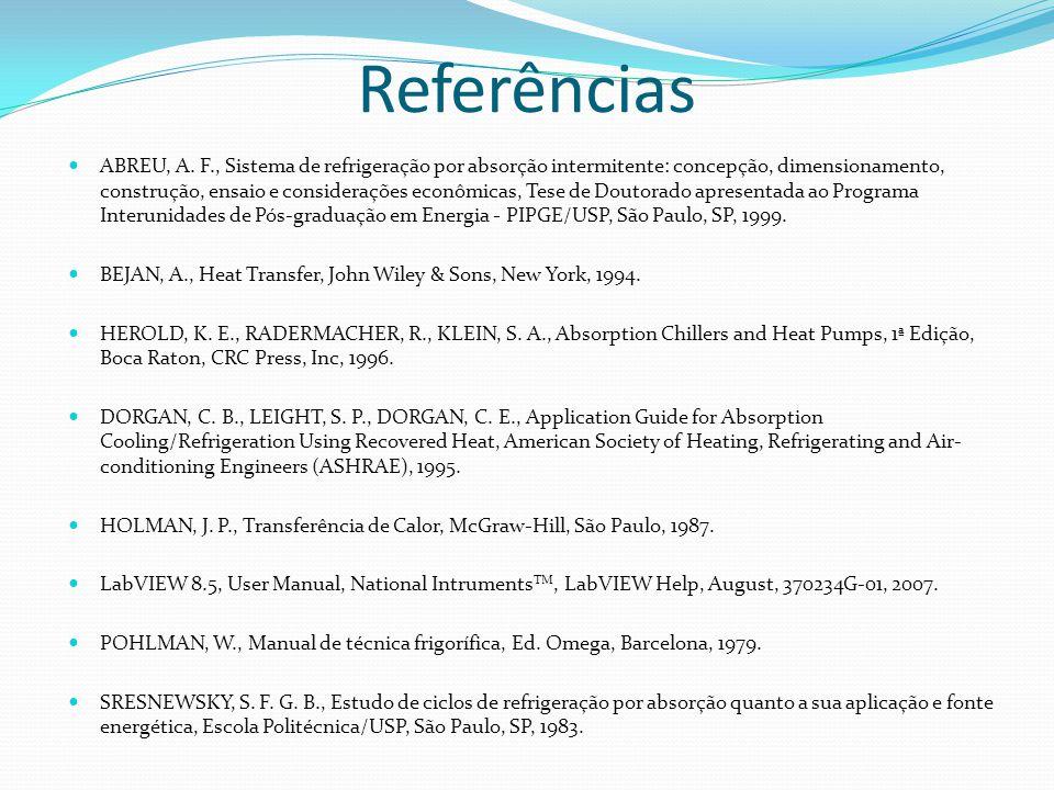 Referências ABREU, A. F., Sistema de refrigeração por absorção intermitente: concepção, dimensionamento, construção, ensaio e considerações econômicas