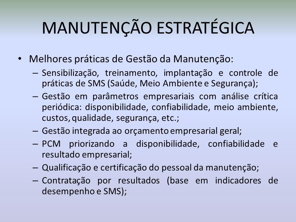 MANUTENÇÃO ESTRATÉGICA Melhores práticas de Gestão da Manutenção: – Sensibilização, treinamento, implantação e controle de práticas de SMS (Saúde, Mei
