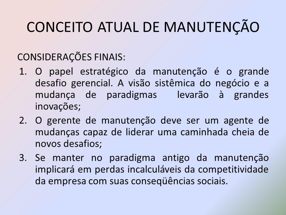 CONCEITO ATUAL DE MANUTENÇÃO CONSIDERAÇÕES FINAIS: 1.O papel estratégico da manutenção é o grande desafio gerencial. A visão sistêmica do negócio e a