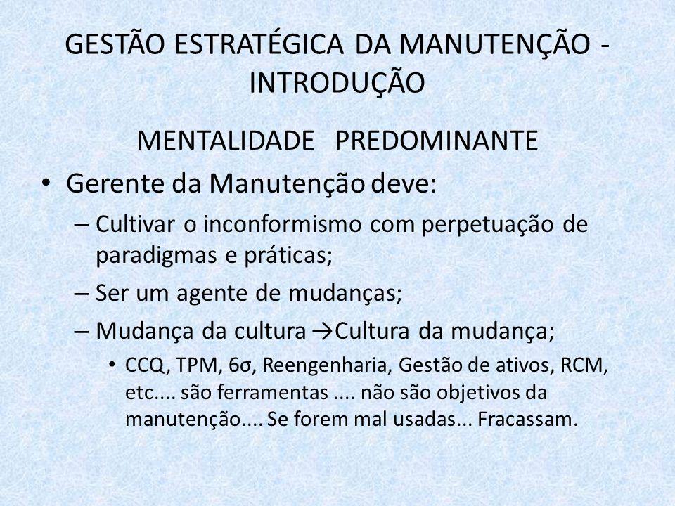 GESTÃO ESTRATÉGICA DA MANUTENÇÃO - INTRODUÇÃO MENTALIDADE PREDOMINANTE Gerente da Manutenção deve: – Cultivar o inconformismo com perpetuação de parad